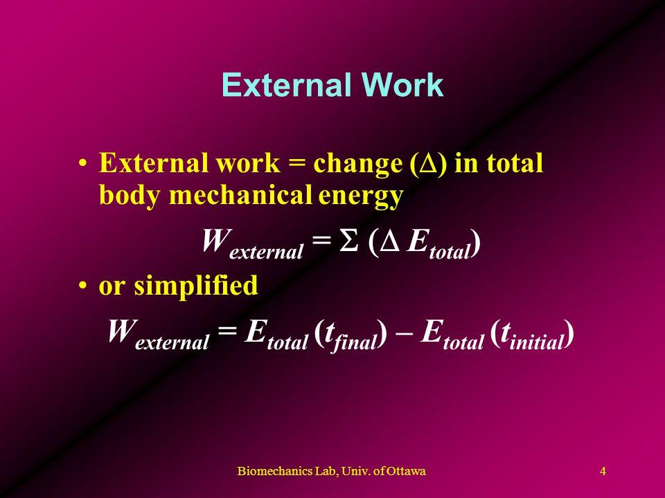 Biomechanics Lab, Univ. of Ottawa4 External Work External work = change ( ) in total body mechanical energy W external = E total ) or simplified W ext
