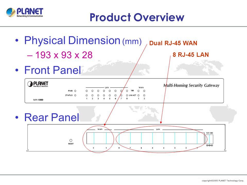 Product Overview Physical Dimension (mm) –193 x 93 x 28 Front Panel Rear Panel Dual RJ-45 WAN 8 RJ-45 LAN
