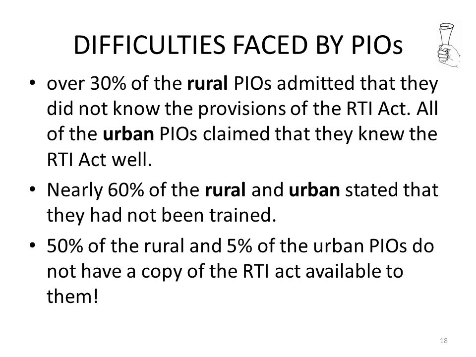 DIFFICULTIES FACED BY PIOs over 30% of the rural PIOs admitted that they did not know the provisions of the RTI Act.
