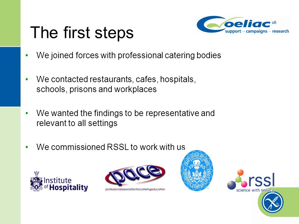 The first steps We joined forces with professional catering bodies We contacted restaurants, cafes, hospitals, schools, prisons and workplaces We wanted the findings to be representative and relevant to all settings We commissioned RSSL to work with us