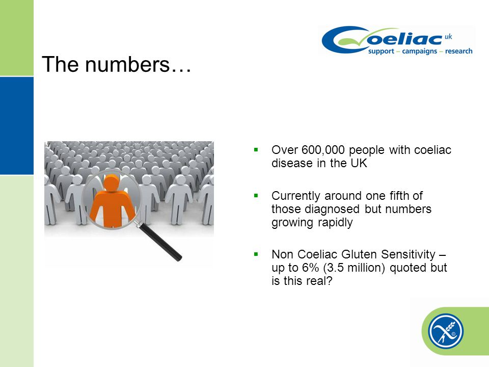 The numbers… Over 600,000 people with coeliac disease in the UK Currently around one fifth of those diagnosed but numbers growing rapidly Non Coeliac Gluten Sensitivity – up to 6% (3.5 million) quoted but is this real