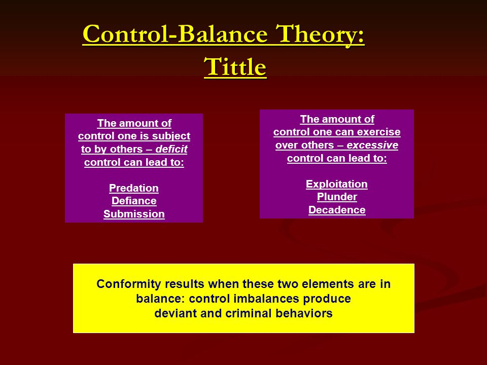 Control-Balance Theory: Tittle Control-Balance Theory: Tittle The amount of control one is subject to by others – deficit control can lead to: Predation Defiance Submission The amount of control one can exercise over others – excessive control can lead to: Exploitation Plunder Decadence Conformity results when these two elements are in balance: control imbalances produce deviant and criminal behaviors