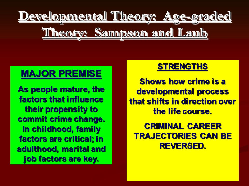 MAJOR PREMISE As people mature, the factors that influence their propensity to commit crime change. In childhood, family factors are critical; in adul