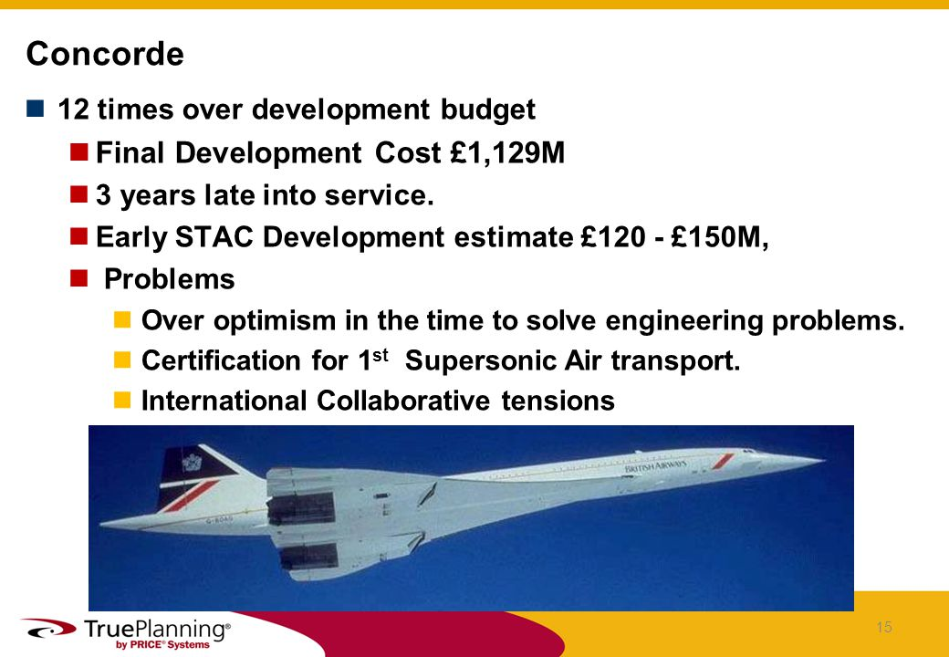 12 times over development budget Final Development Cost £1,129M 3 years late into service.