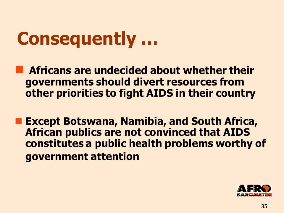 35 Consequently … Africans are undecided about whether their governments should divert resources from other priorities to fight AIDS in their country