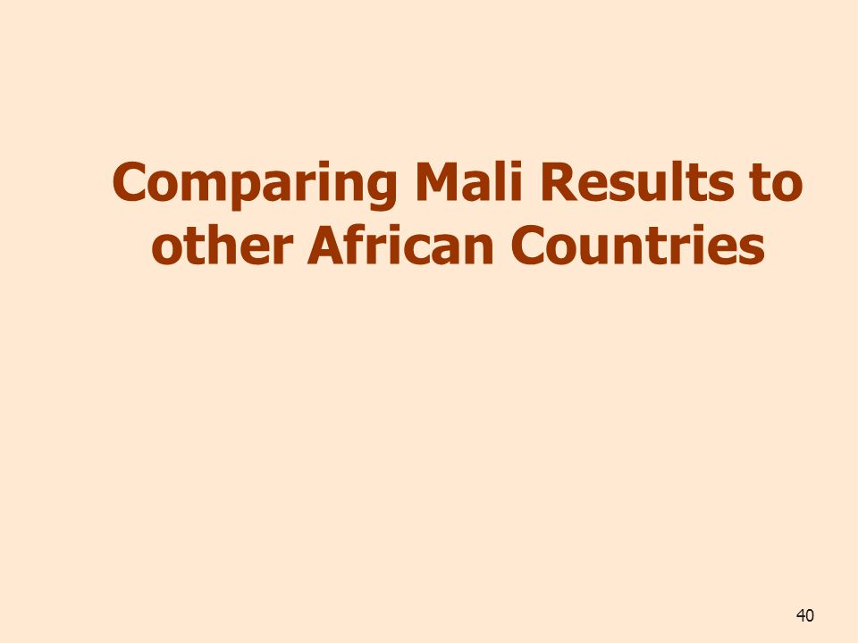 40 Comparing Mali Results to other African Countries