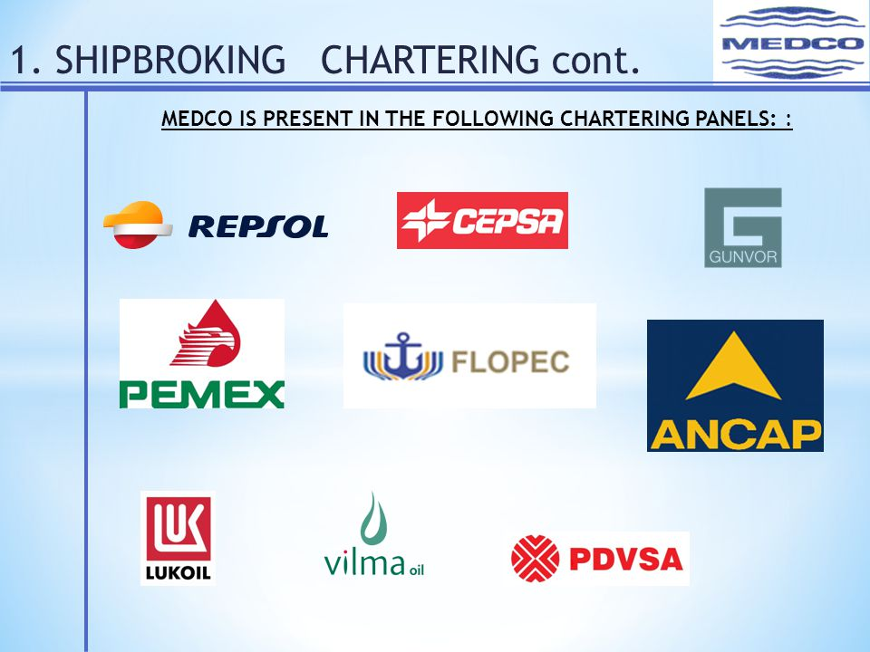1. SHIPBROKING CHARTERING cont. MEDCO IS PRESENT IN THE FOLLOWING CHARTERING PANELS: :