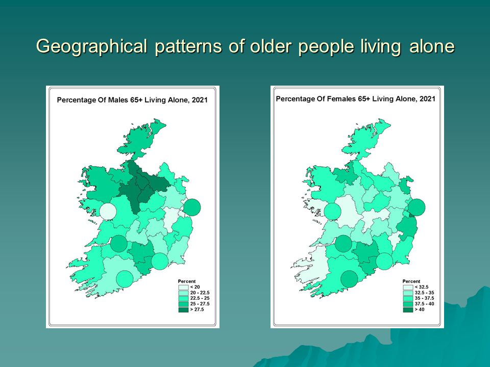 Geographical patterns of older people living alone