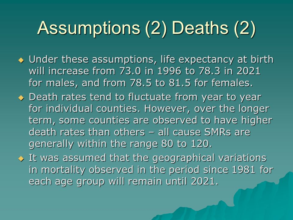 Assumptions (2) Deaths (2) Under these assumptions, life expectancy at birth will increase from 73.0 in 1996 to 78.3 in 2021 for males, and from 78.5 to 81.5 for females.