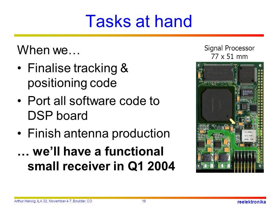Arthur Helwig, ILA 32, November 4-7, Boulder, CO16 reelektronika Tasks at hand Signal Processor 77 x 51 mm When we… Finalise tracking & positioning co