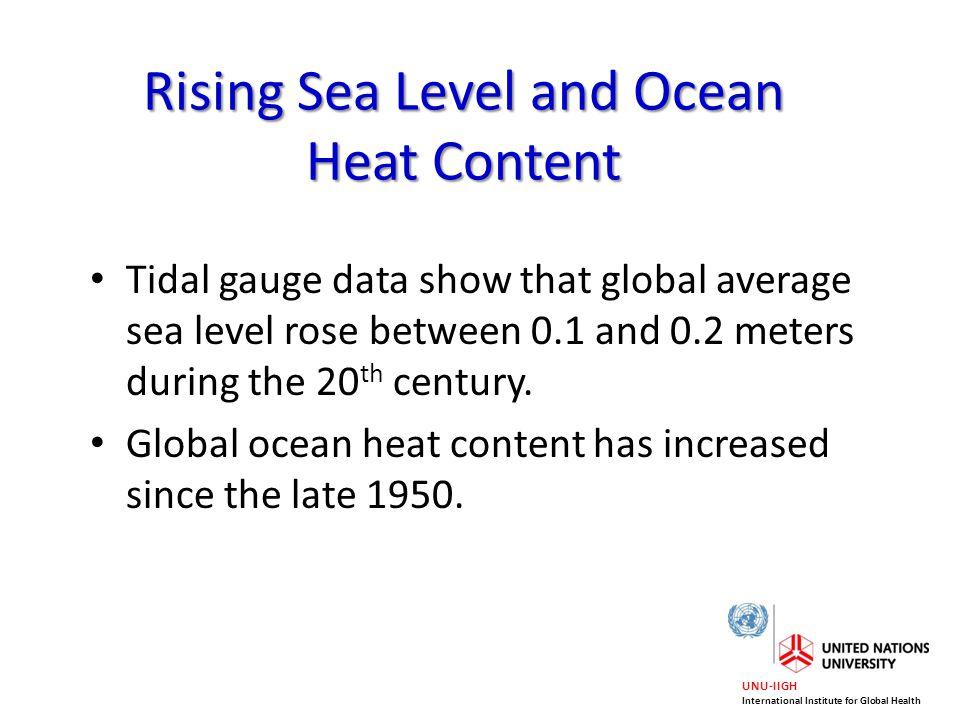 UNU-IIGH International Institute for Global Health Rising Sea Level and Ocean Heat Content Tidal gauge data show that global average sea level rose be