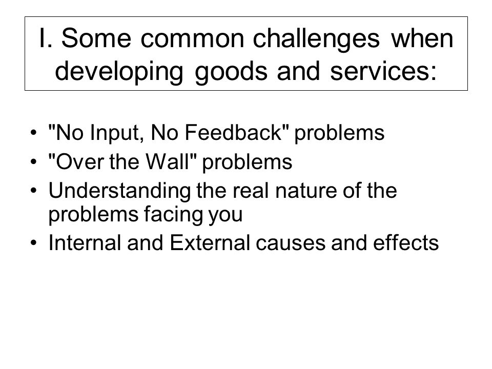 I. Some common challenges when developing goods and services: