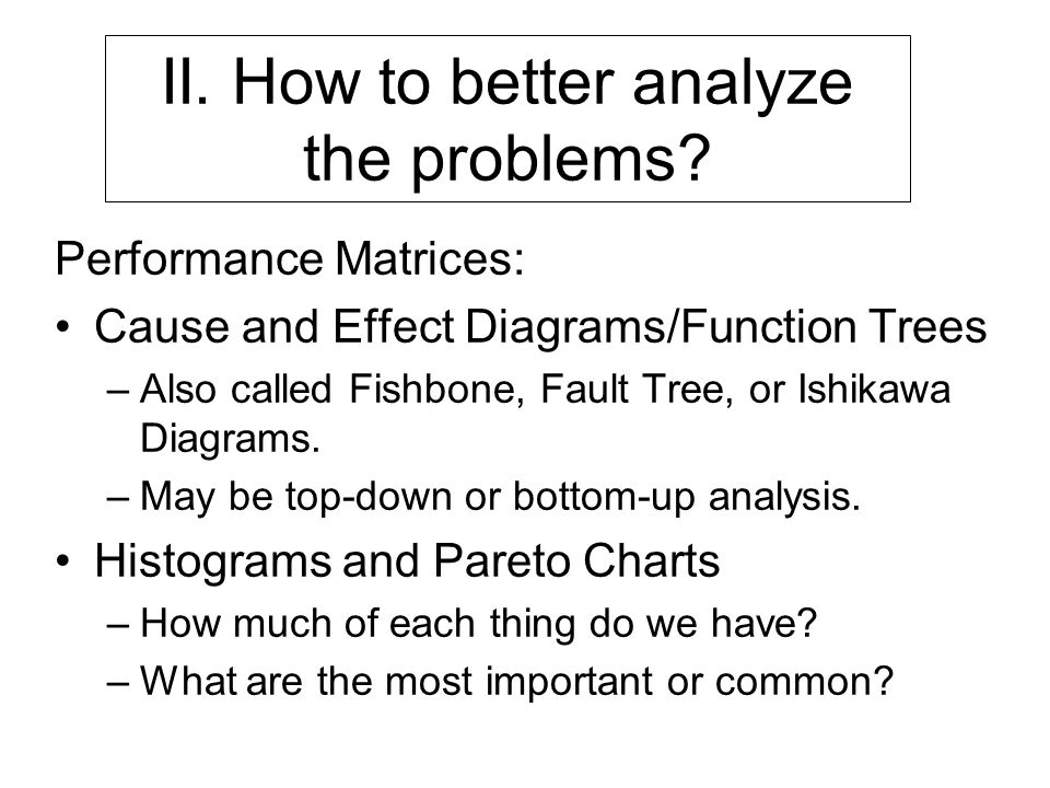 II. How to better analyze the problems.