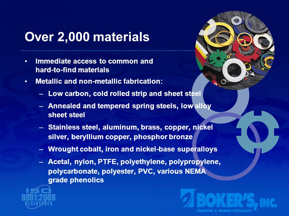 Over 2,000 materials Immediate access to common and hard-to-find materials Metallic and non-metallic fabrication: –Low carbon, cold rolled strip and sheet steel –Annealed and tempered spring steels, low alloy sheet steel –Stainless steel, aluminum, brass, copper, nickel silver, beryllium copper, phosphor bronze –Wrought cobalt, iron and nickel-base superalloys –Acetal, nylon, PTFE, polyethylene, polypropylene, polycarbonate, polyester, PVC, various NEMA grade phenolics