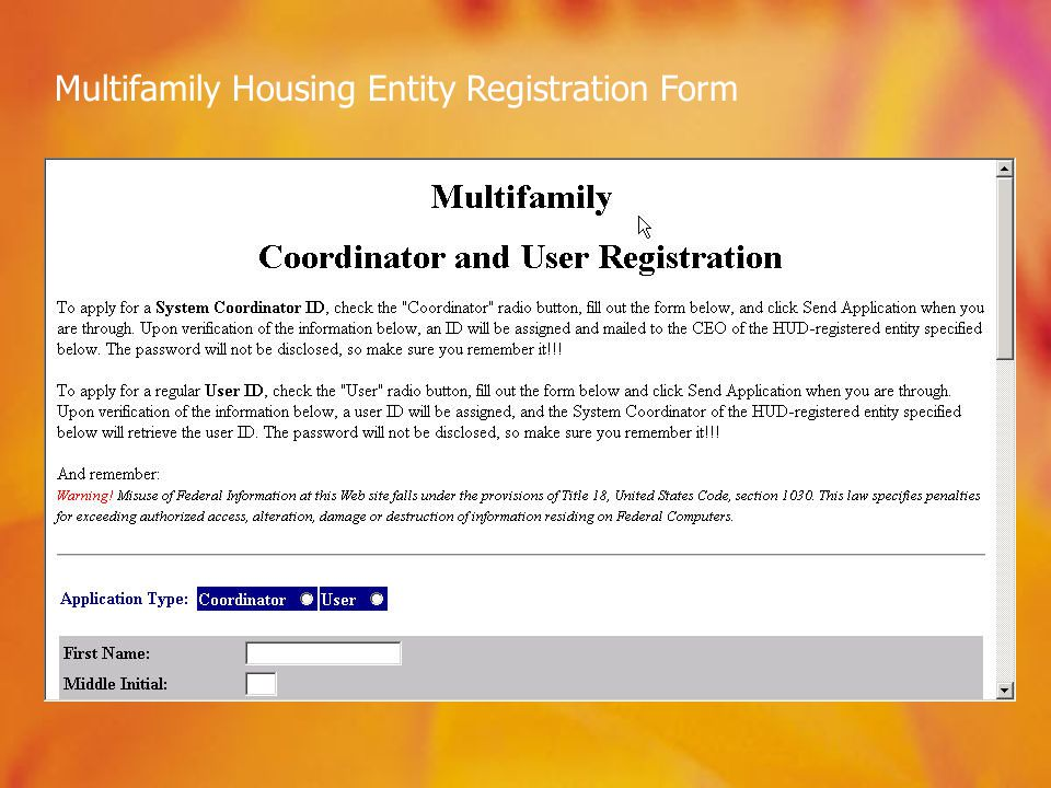 Multifamily Housing Entity Registration Form