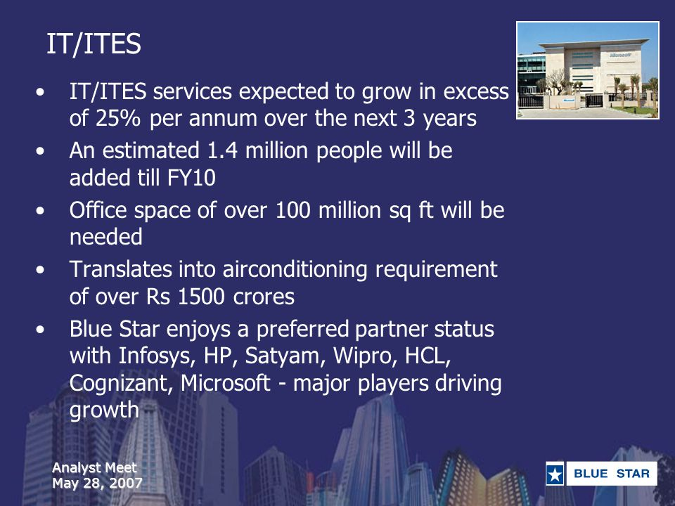 Analyst Meet May 28, 2007 IT/ITES IT/ITES services expected to grow in excess of 25% per annum over the next 3 years An estimated 1.4 million people will be added till FY10 Office space of over 100 million sq ft will be needed Translates into airconditioning requirement of over Rs 1500 crores Blue Star enjoys a preferred partner status with Infosys, HP, Satyam, Wipro, HCL, Cognizant, Microsoft - major players driving growth