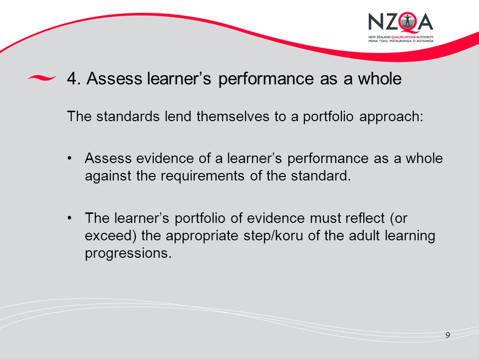 9 4. Assess learners performance as a whole The standards lend themselves to a portfolio approach: Assess evidence of a learners performance as a whol