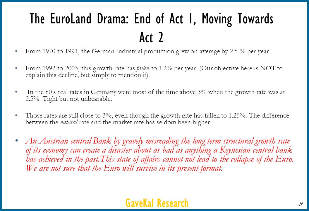 GaveKal Research 29 The EuroLand Drama: End of Act 1, Moving Towards Act 2 From 1970 to 1991, the German Industrial production grew on average by 2.5