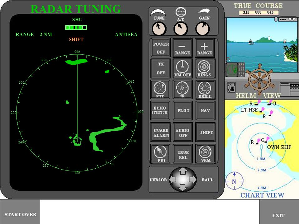 000 030 060 090 120 150 180 210 240 270 300 330 SHU ANTISEARANGE 2 NM GUARD AUDIO OFF RADAR TUNING EXIT START OVER