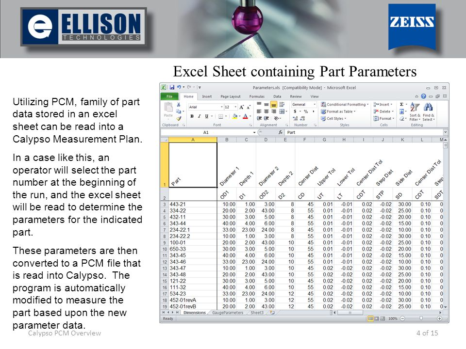 4 of 15 Utilizing PCM, family of part data stored in an excel sheet can be read into a Calypso Measurement Plan. In a case like this, an operator will