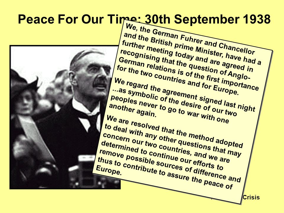 The Czech Crisis During a private meeting, Chamberlain asks Hitler to sign an additional agreement. Chamberlain waved it to the crowds at Heston airpo