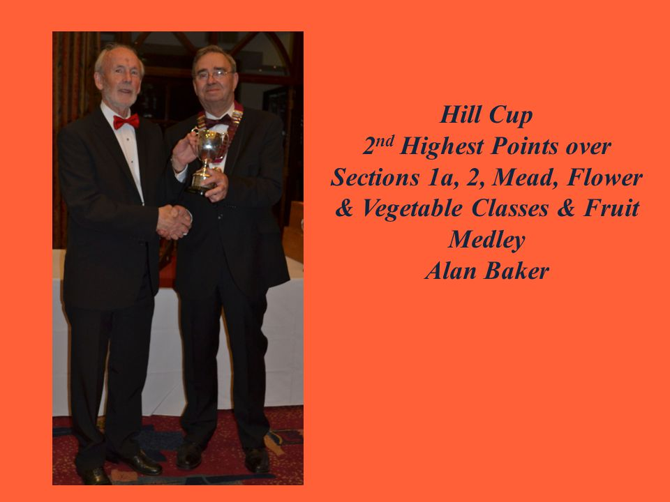 Hill Cup 2 nd Highest Points over Sections 1a, 2, Mead, Flower & Vegetable Classes & Fruit Medley Alan Baker