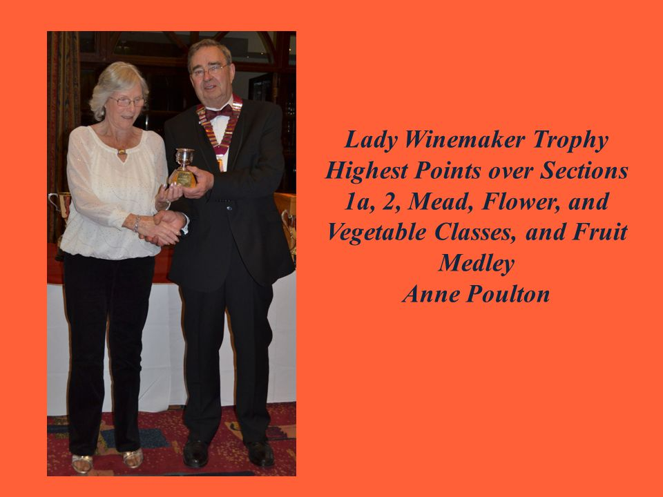 Lady Winemaker Trophy Highest Points over Sections 1a, 2, Mead, Flower, and Vegetable Classes, and Fruit Medley Anne Poulton