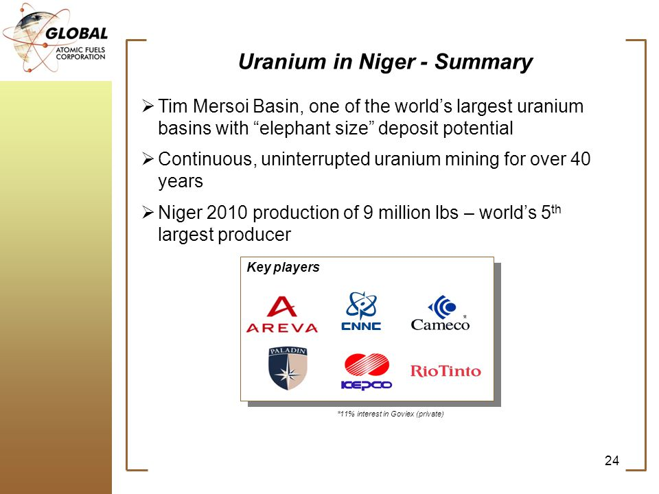 Tim Mersoi Basin, one of the worlds largest uranium basins with elephant size deposit potential Continuous, uninterrupted uranium mining for over 40 years Niger 2010 production of 9 million lbs – worlds 5 th largest producer 24 Uranium in Niger - Summary Key players * *11% interest in Goviex (private)
