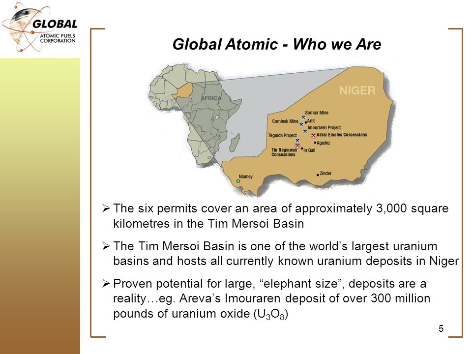 Global Atomic - Who we Are The six permits cover an area of approximately 3,000 square kilometres in the Tim Mersoi Basin The Tim Mersoi Basin is one