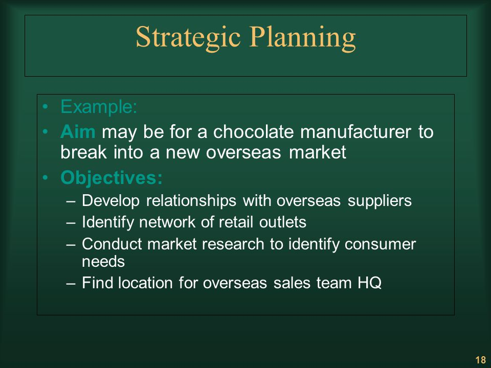 18 Strategic Planning Example: Aim may be for a chocolate manufacturer to break into a new overseas market Objectives: –Develop relationships with ove
