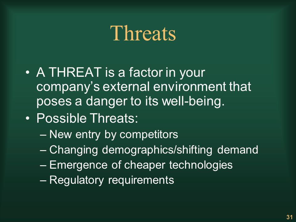 31 Threats A THREAT is a factor in your companys external environment that poses a danger to its well-being. Possible Threats: –New entry by competito