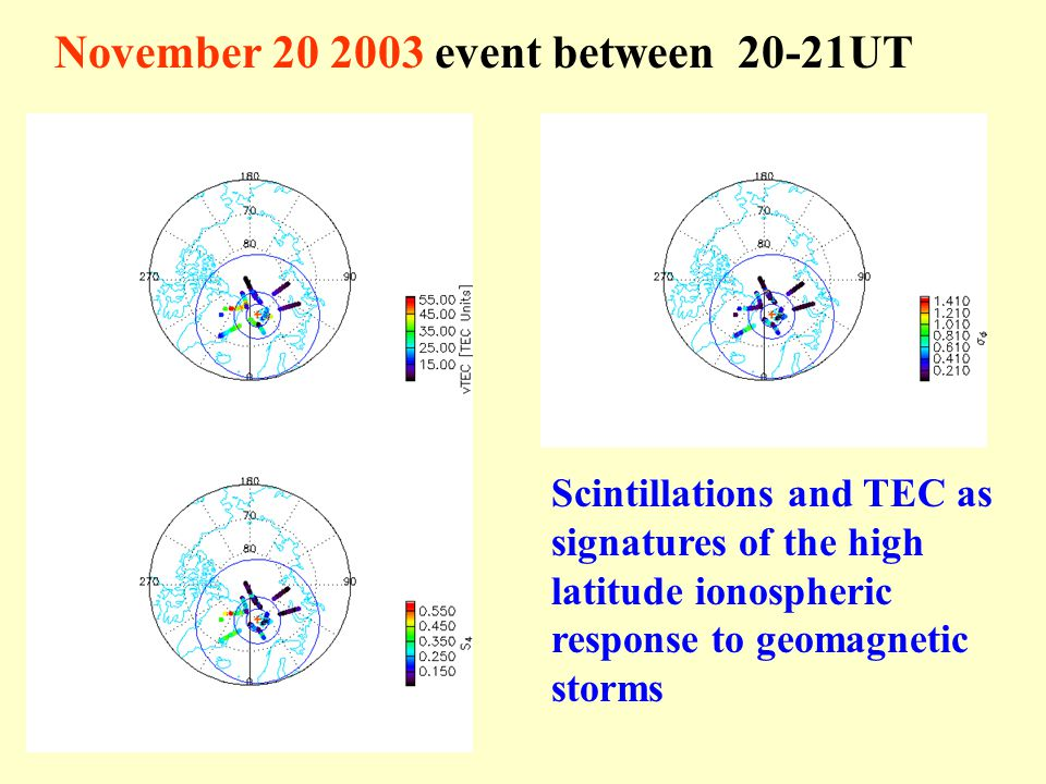 November 20 2003 event between 20-21UT Scintillations and TEC as signatures of the high latitude ionospheric response to geomagnetic storms