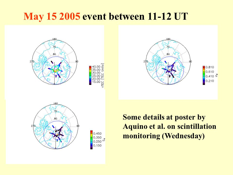 May 15 2005 event between 11-12 UT Some details at poster by Aquino et al. on scintillation monitoring (Wednesday)