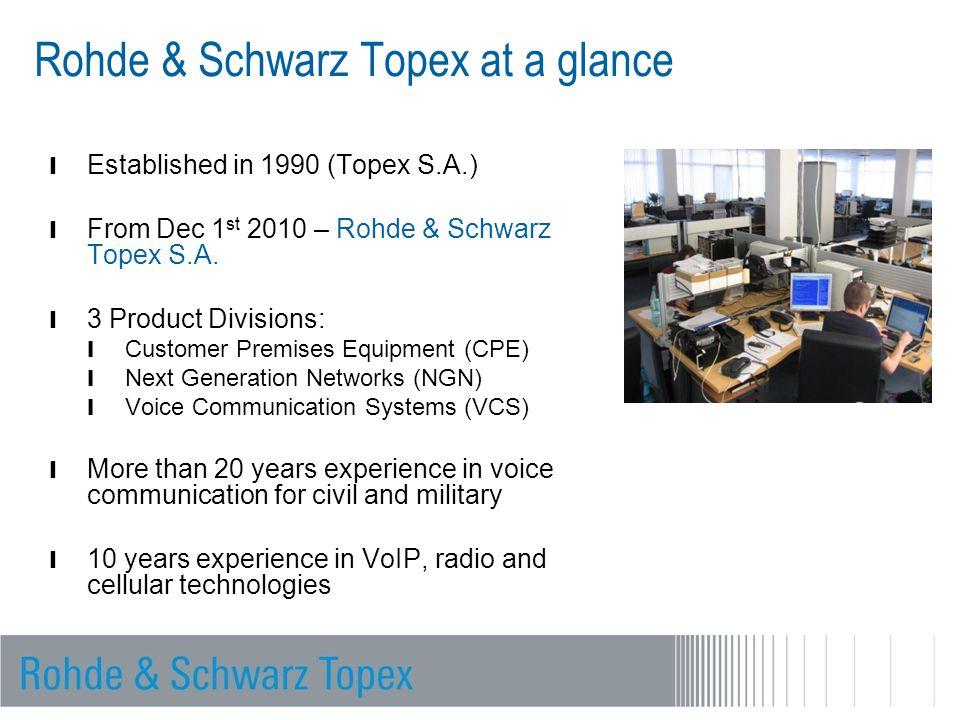Rohde & Schwarz Topex at a glance l Established in 1990 (Topex S.A.) l From Dec 1 st 2010 – Rohde & Schwarz Topex S.A. l 3 Product Divisions: l Custom