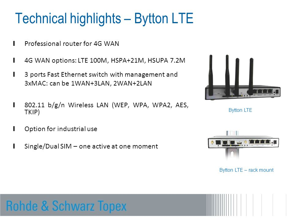 Technical highlights – Bytton LTE l Professional router for 4G WAN l 4G WAN options: LTE 100M, HSPA+21M, HSUPA 7.2M l 3 ports Fast Ethernet switch with management and 3xMAC: can be 1WAN+3LAN, 2WAN+2LAN l 802.11 b/g/n Wireless LAN (WEP, WPA, WPA2, AES, TKIP) l Option for industrial use l Single/Dual SIM – one active at one moment Bytton LTE Bytton LTE – rack mount