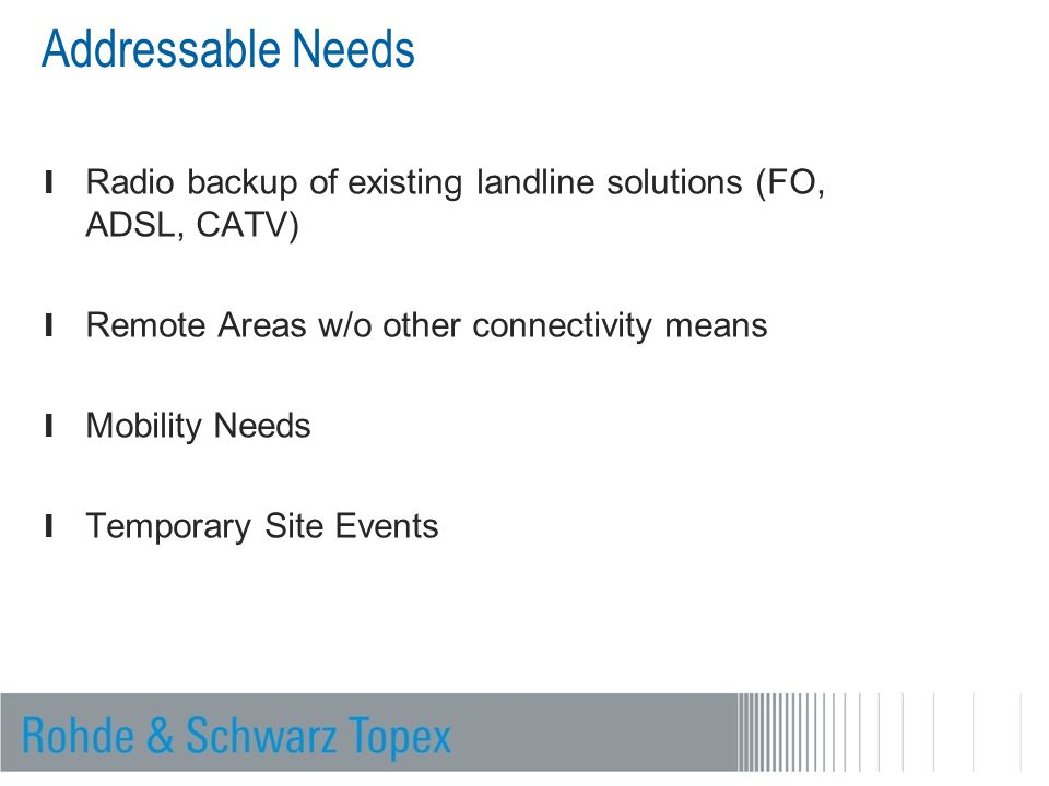 l Radio backup of existing landline solutions (FO, ADSL, CATV) l Remote Areas w/o other connectivity means l Mobility Needs l Temporary Site Events Ad