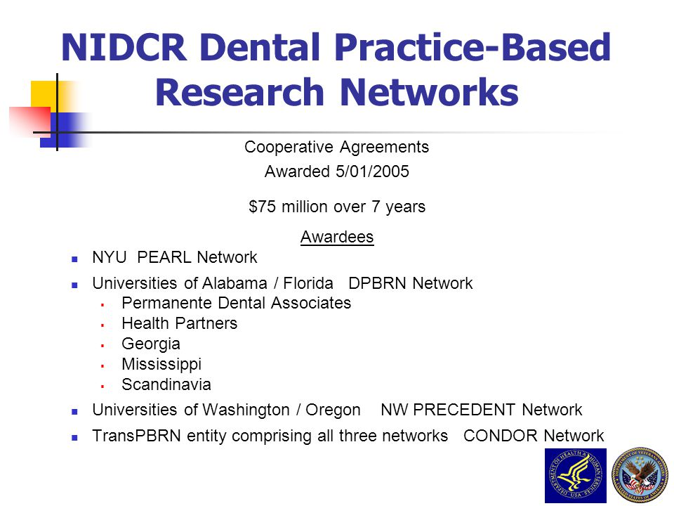 NIDCR Dental Practice-Based Research Networks Cooperative Agreements Awarded 5/01/2005 $75 million over 7 years Awardees NYU PEARL Network Universitie
