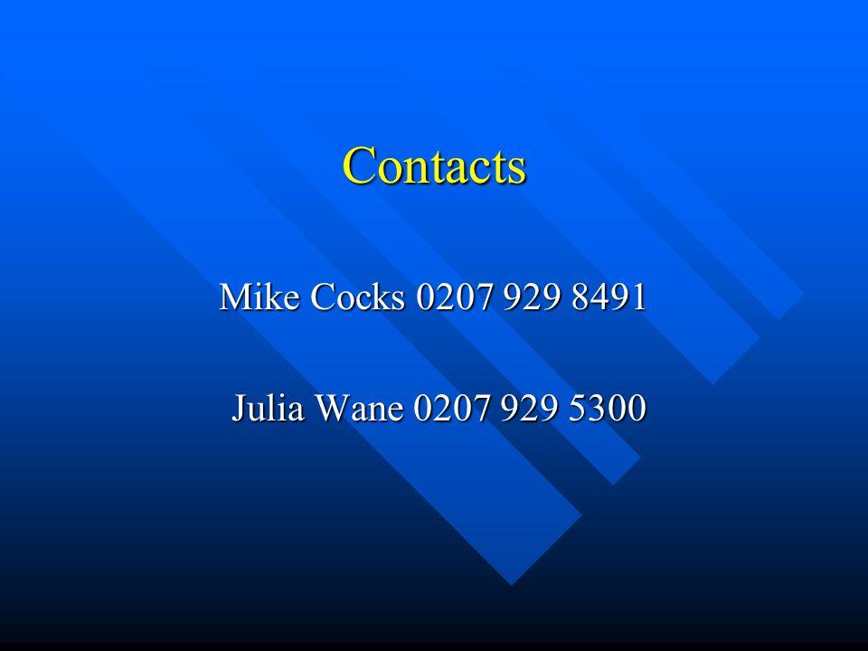 Contacts Mike Cocks 0207 929 8491 Julia Wane 0207 929 5300 Julia Wane 0207 929 5300