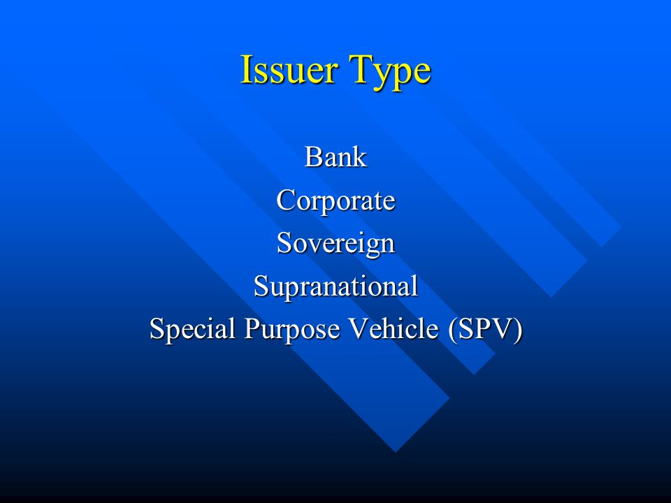 Issuer Type BankCorporateSovereignSupranational Special Purpose Vehicle (SPV)
