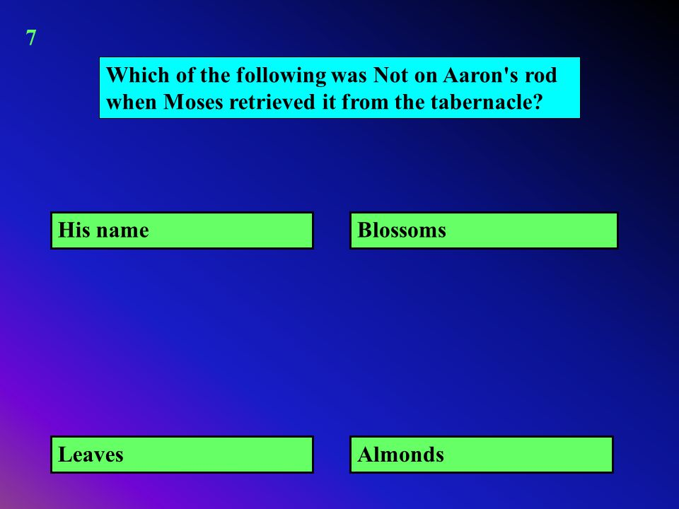 Which of the following was Not on Aaron's rod when Moses retrieved it from the tabernacle? His name AlmondsLeaves Blossoms 7
