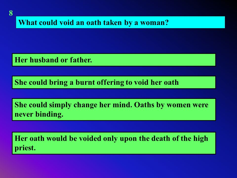 What could void an oath taken by a woman? She could simply change her mind. Oaths by women were never binding. Her husband or father. Her oath would b