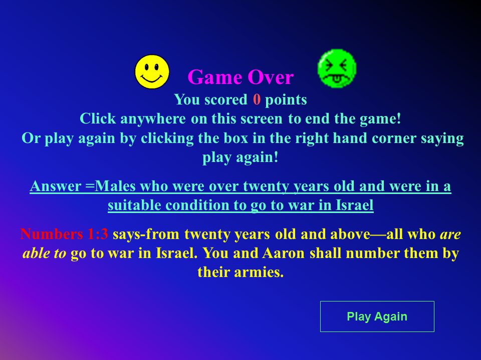 Game Over You scored 0 points Click anywhere on this screen to end the game! Or play again by clicking the box in the right hand corner saying play ag
