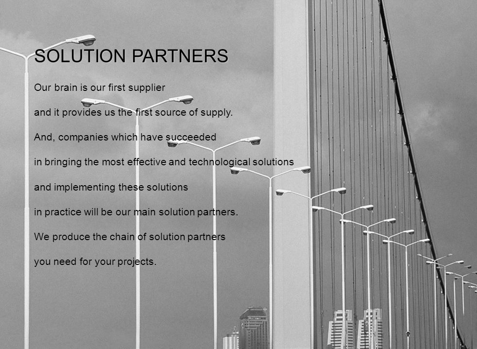 SOLUTION PARTNERS Our brain is our first supplier and it provides us the first source of supply.