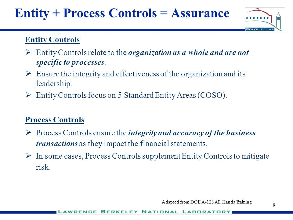 18 Entity + Process Controls = Assurance Entity Controls Entity Controls relate to the organization as a whole and are not specific to processes. Ensu
