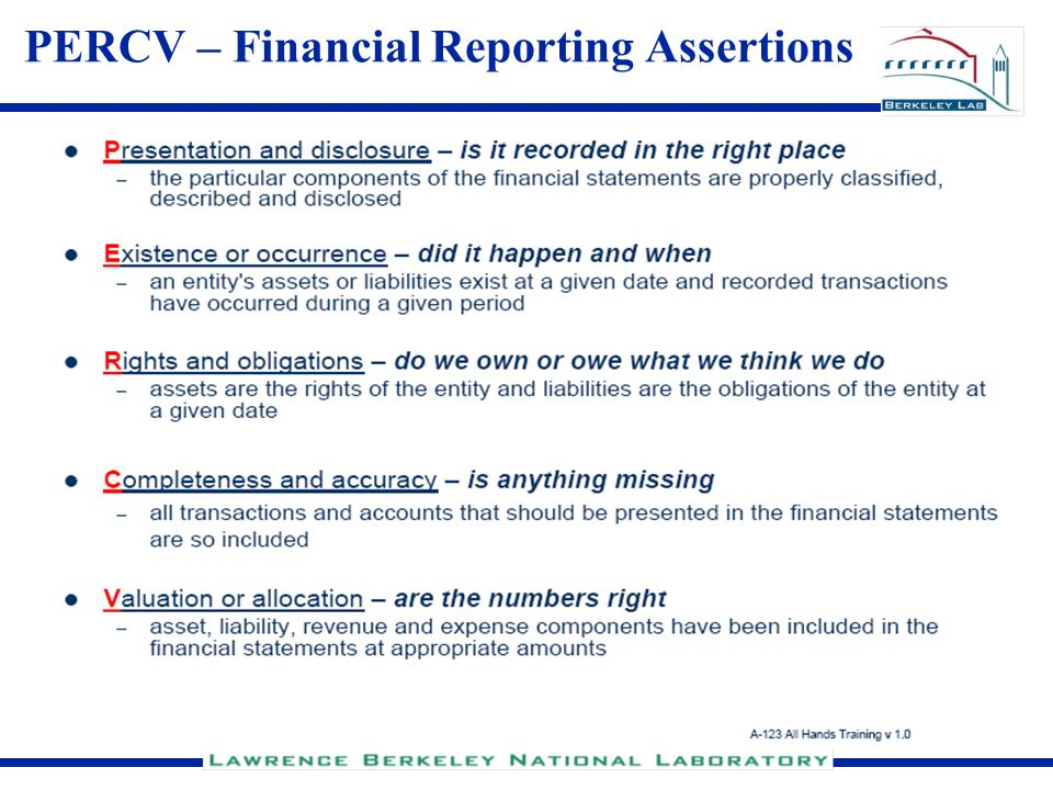 23 PERCV – Financial Reporting Assertions