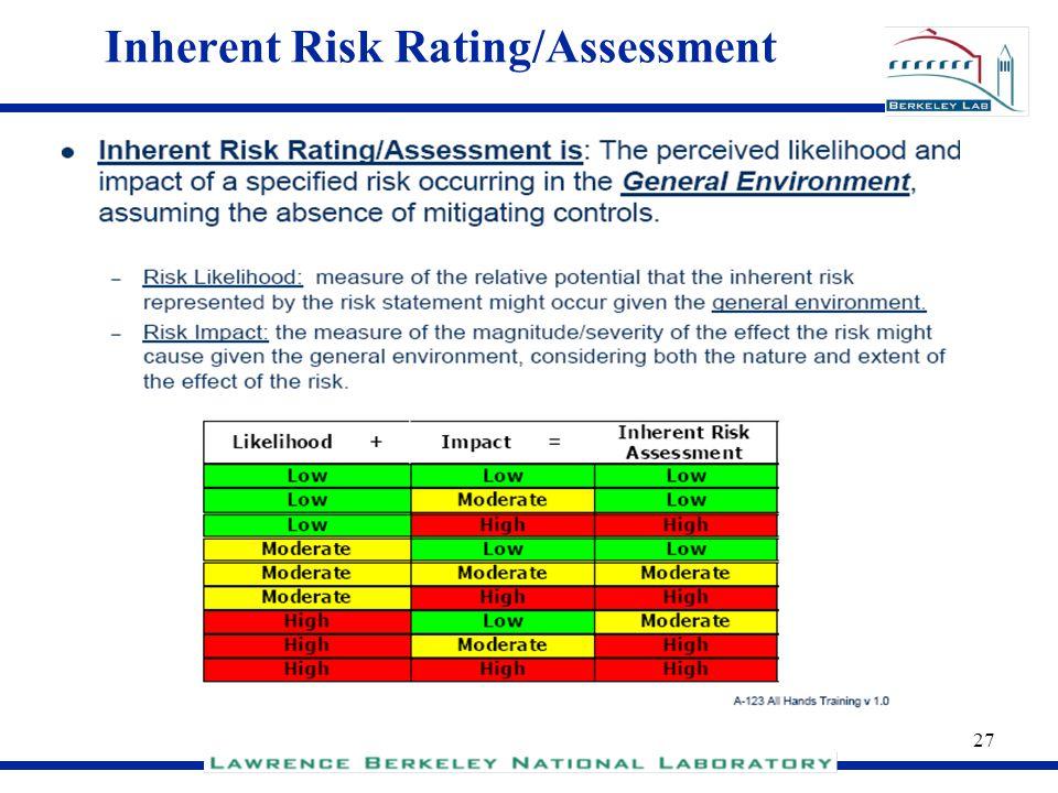 27 Inherent Risk Rating/Assessment