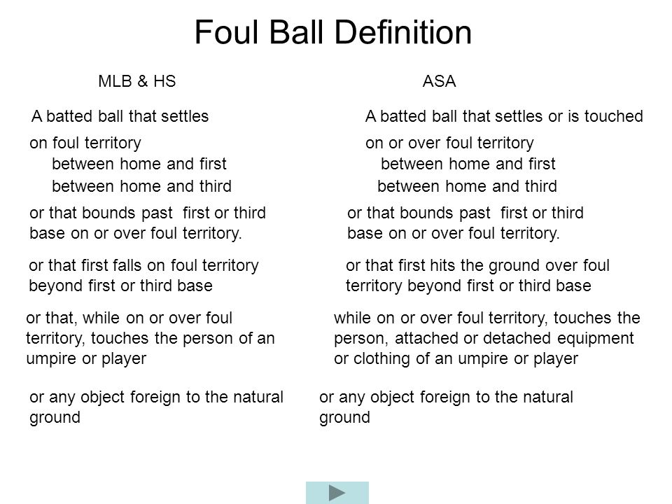 Foul Ball Definition MLB & HSASA A batted ball that settlesA batted ball that settles or is touched on foul territoryon or over foul territory between