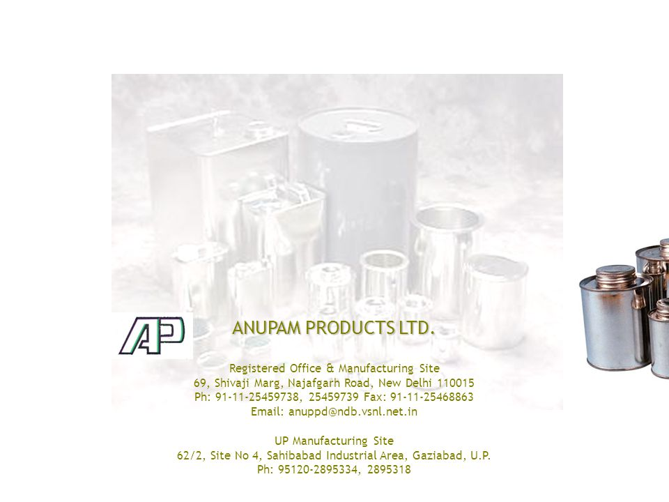 ANUPAM PRODUCTS LTD.