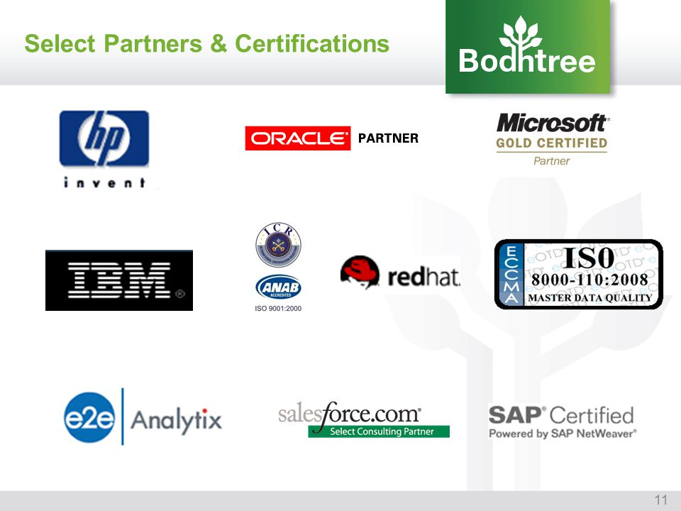 11 Select Partners & Certifications