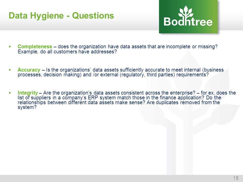 15 Data Hygiene - Questions Completeness – does the organization have data assets that are incomplete or missing? Example, do all customers have addre